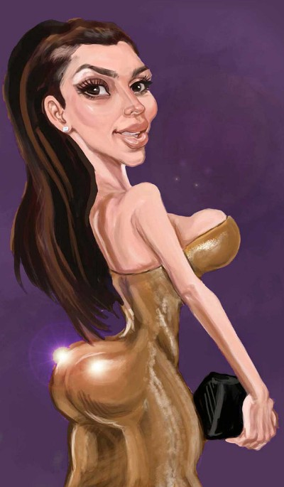 Caricature of Kim Kardashian by Mike Briggs