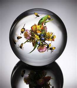 Flowers in Paperweights of Glass