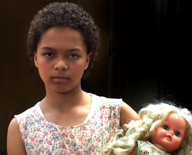 Portrait of Sandra Laing as a child from the movie, Skin.